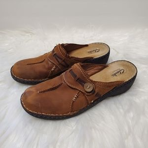 Clarks Artisan Mule Clog Shoes 10 N Leather Upper
